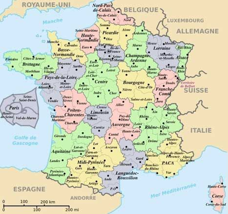carte de france et ses regions