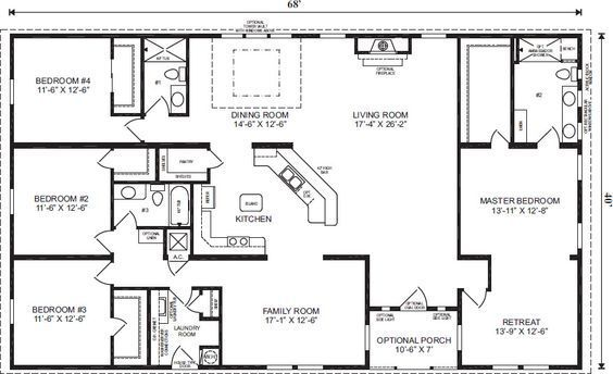 Like The Dining Room Living Rm Kitchen Openness Q Ranch House Floor Plans 4 Bedroom Love This Simple No Watered Space Plan