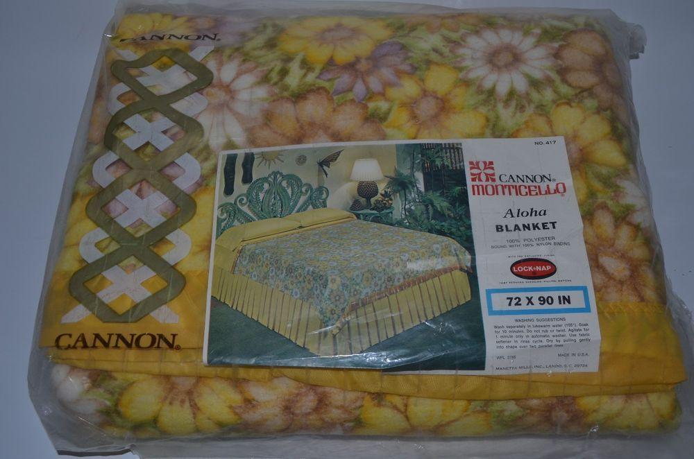 Cannon Menticello Aloha Blanket NEW Vintage 72x90 Nylon Trim Lock Nap #Cannon #Aloha