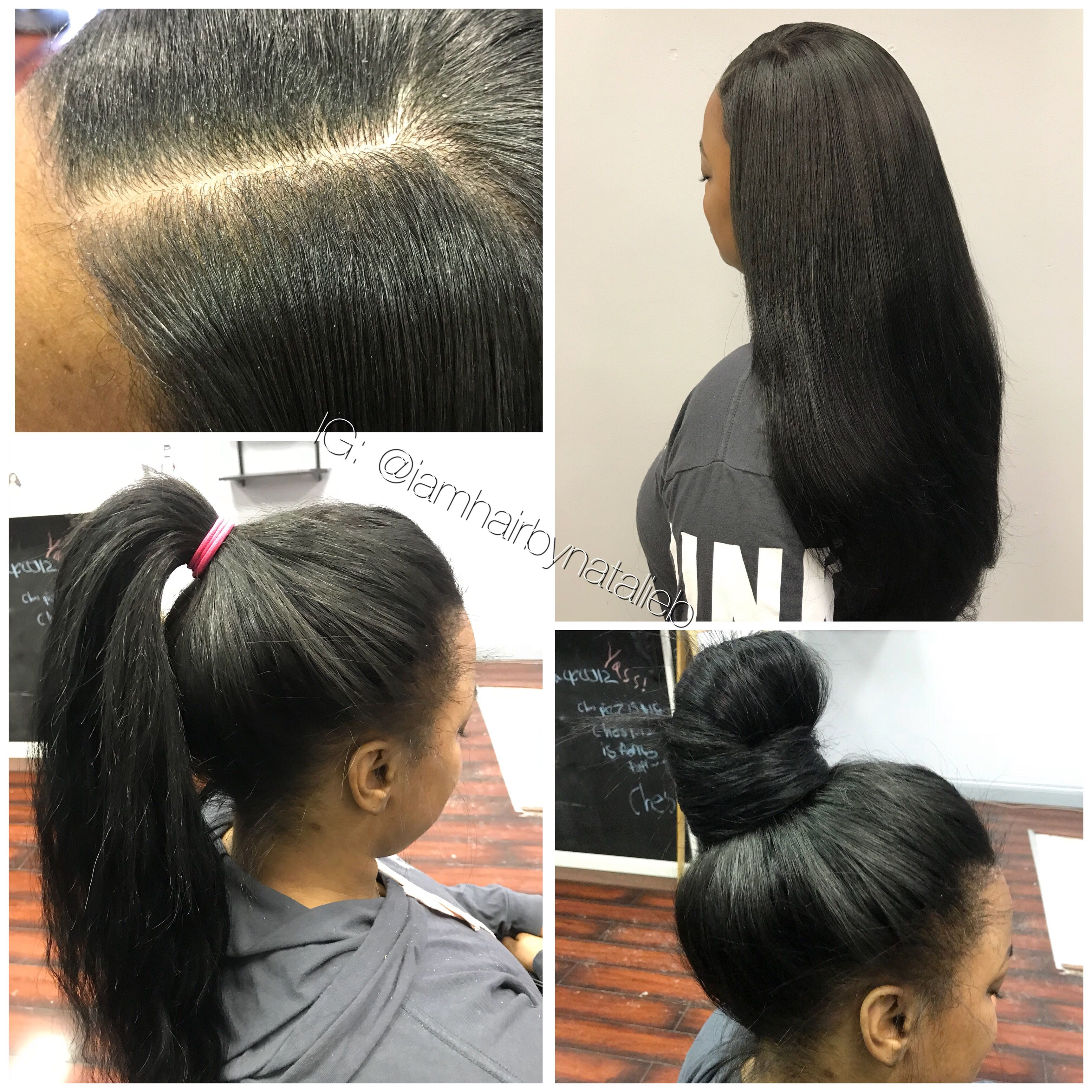 Natural Looking Versatile Sew In Hair Weave Can Be Worn In A High Ponytail Or Bun Lasts Natural Hair Stylists Weave Hairstyles Sew In Weave Hairstyles