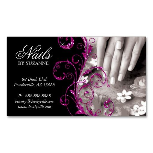 Nail salon business card glitter pink pinterest nail salon business card glitter pink 4 3195 click for sales colourmoves