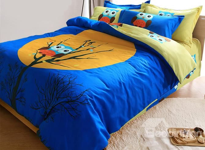 Dark Blue Owl On The Branch Print Kids 3 Piece Duvet Cover Set Duvet Cover Sets Duvet Covers Owl Bedrooms