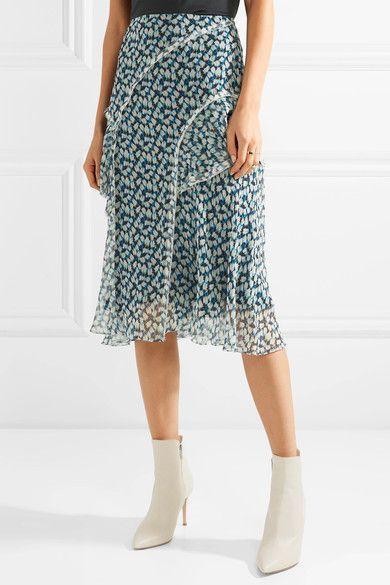Ruffled Floral-print Crinkled Silk-chiffon Midi Skirt - Blue Jason Wu Outlet 2018 New Sw8xm