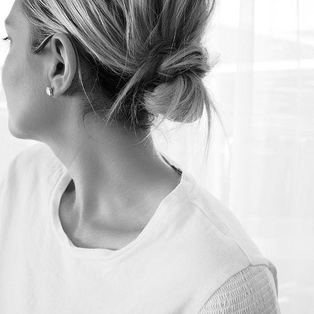 Basics White Tee And Simple Hair Low Knot Bun Beauty Pinterest