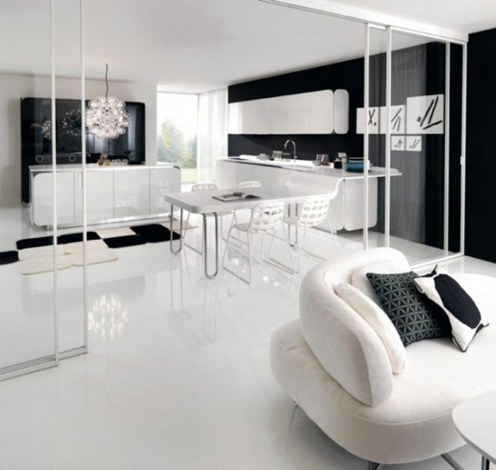 Muster in Schwarz-Weiß wandgestaltung mit Farbe - wohnzimmer modern schwarz weis