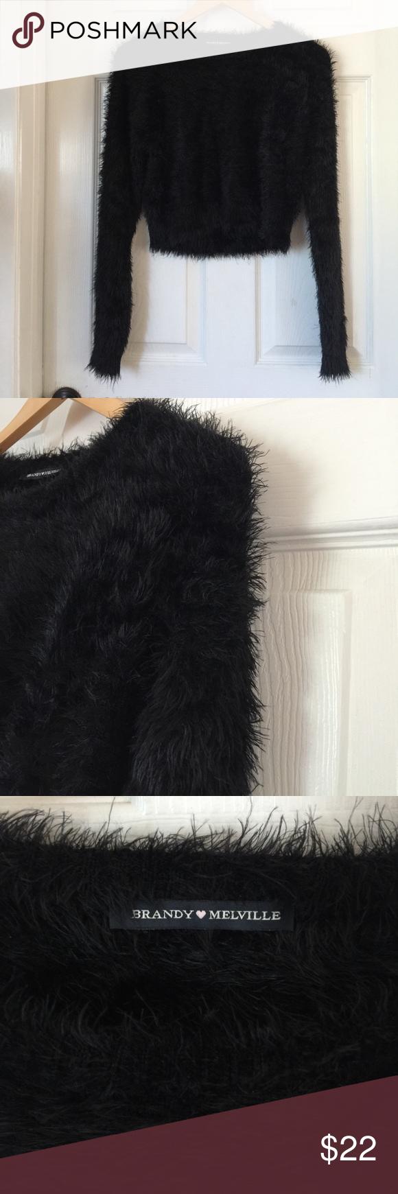 🌹Sale🌹Like-new Brandy Melville Fuzzy Sweater Black fuzzy sweater. Brandy Melville Sweaters
