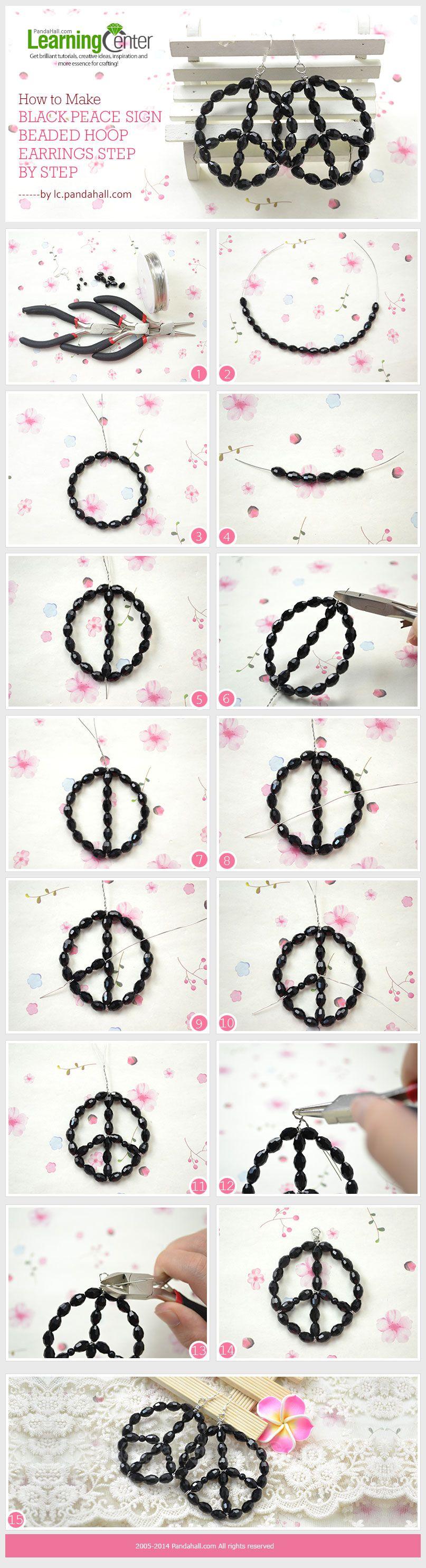 How to Make Black Peace Sign Beaded Hoop Earrings Step by ...