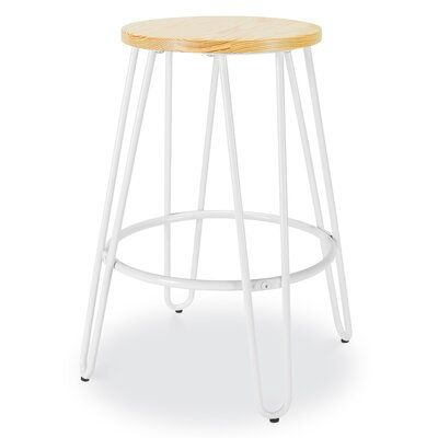 Williston Forge Obrian 23 5 Bar Stool Colour White Natural Counter Stools Adjustable Bar Stools White Counter Stools