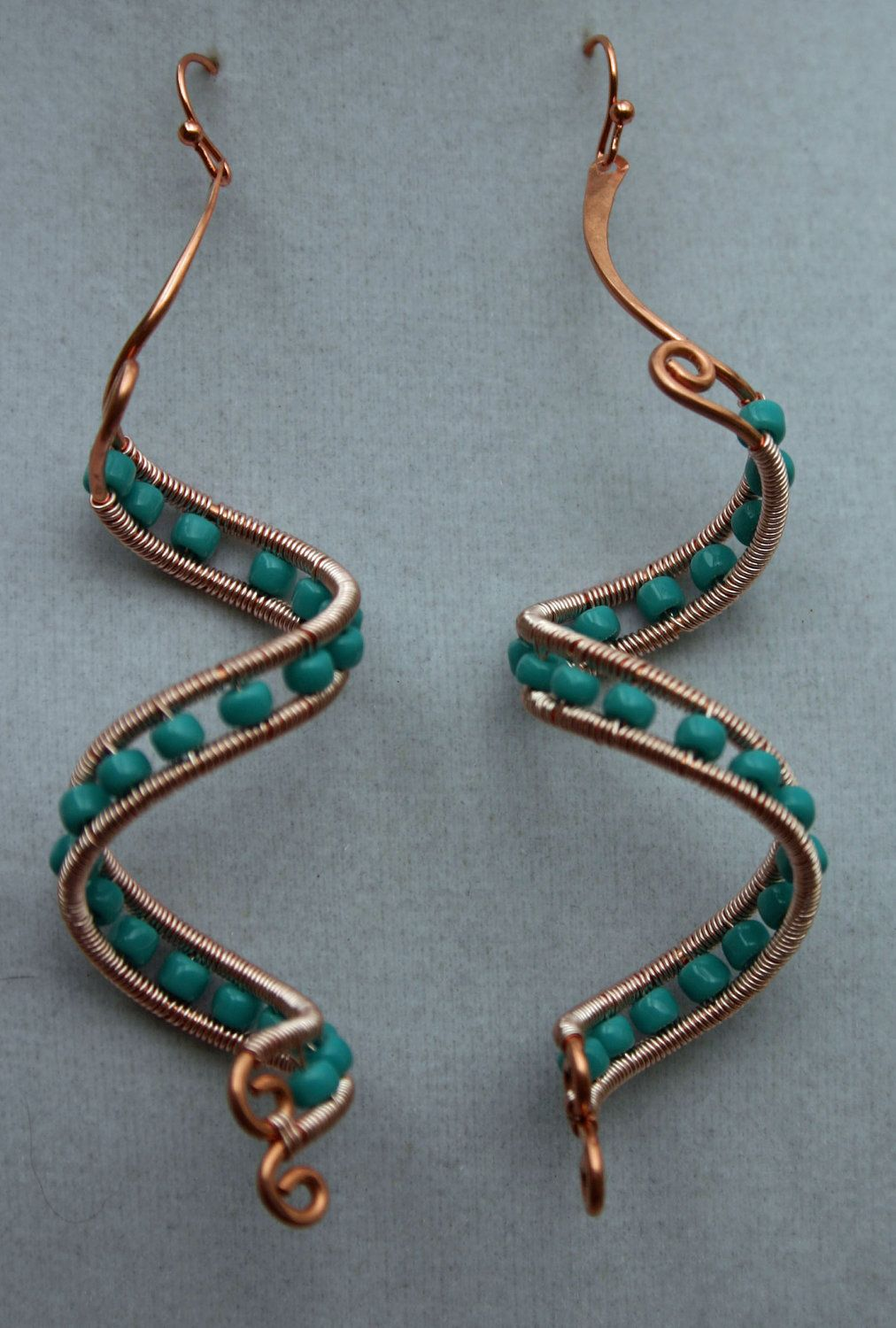 Copper spiral wire wrapped beaded dangle earrings by wbgcreations ...