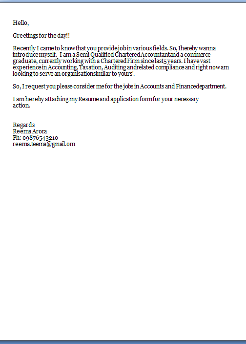 Example Of Cover Letter Excellent Job Application Cover Letter