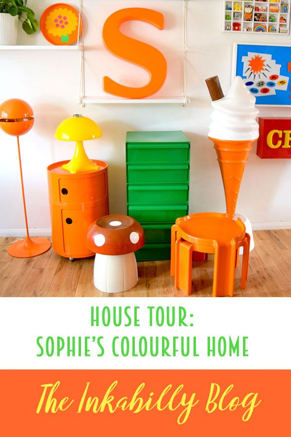 House Tour - Sophie's Colourful Retro Home ... & The Pineapple Retro Vintage Store #retropop