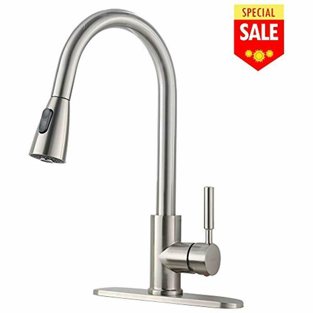 Commercial High Arch Pull Down Sprayer Brushed Nickel Kitchen Sink