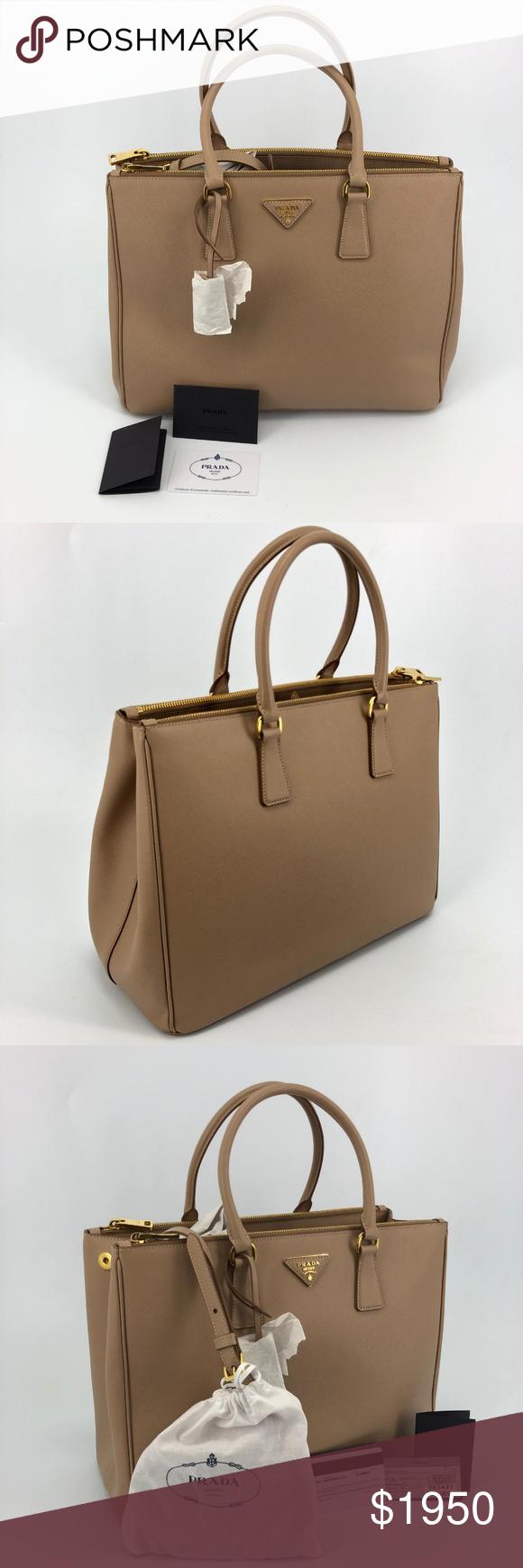 0d6d4dedb05c ... official store prada saffiano medium double zip tote 1ba786 prada  saffiano brown leather tote with golden