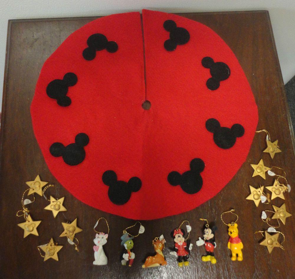 vintage disney miniature felt christmas tree skirt 17 ornaments mickey mini - Disney Christmas Tree Skirt