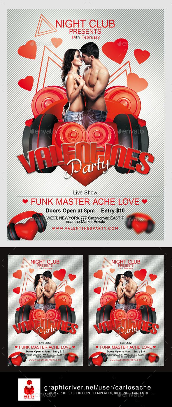 Valentines Flyer Template | Flyer template, Template and Fonts