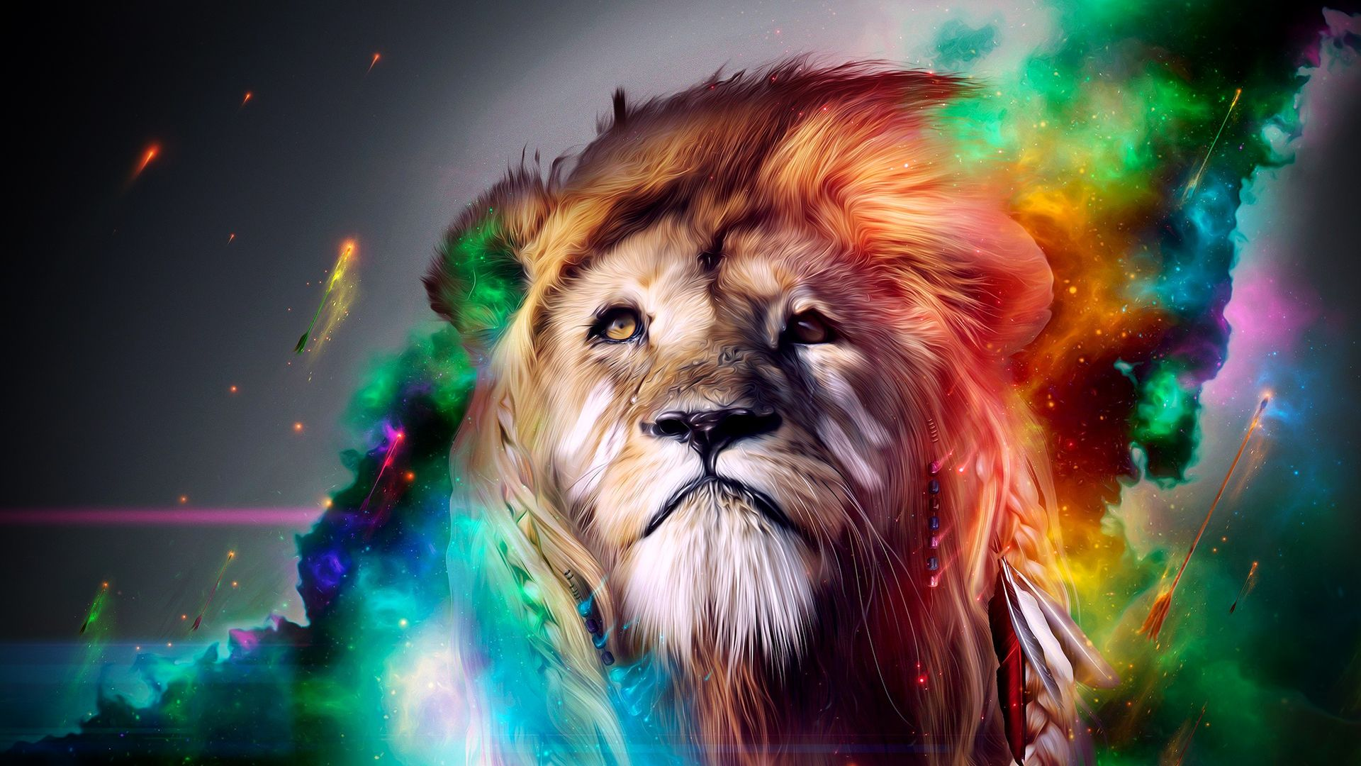 Pics For Hd Abstract Animal Wallpapers Colorful Lion Abstract