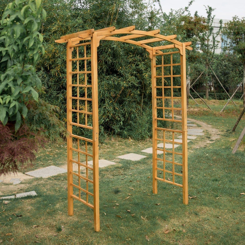 Kinbor Wood Arbor Outdoor Trellis Pergola Garden Arch Wedding