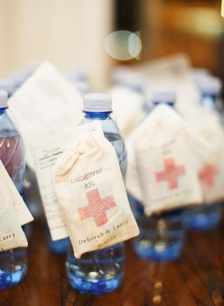 Fun wedding favor or welcome bag idea - water bottles with hangover kit attached {Brian LaBrada Photography}
