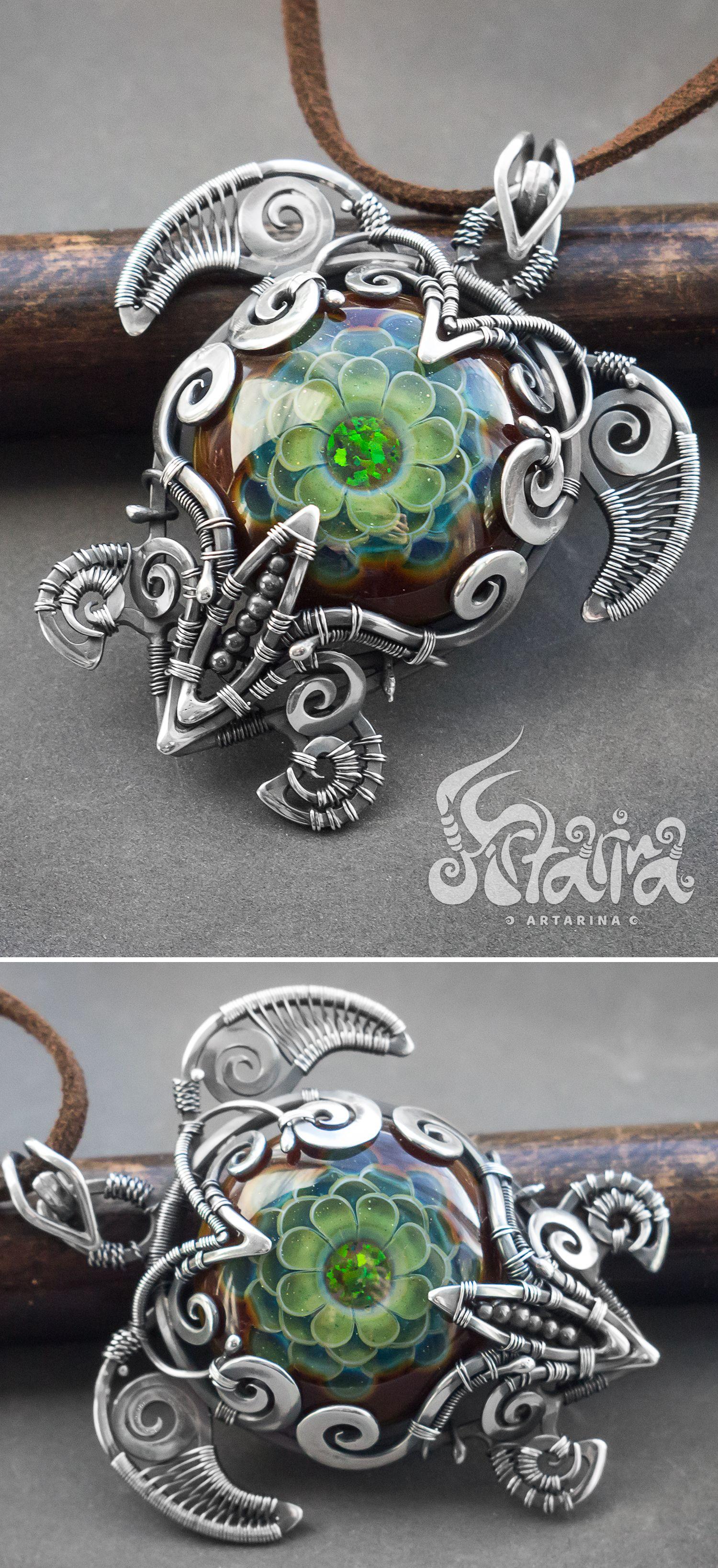 Photo of Wire wrapped turtle. Sea turtle pendant.