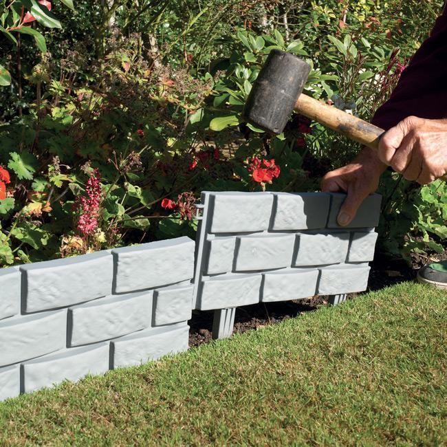 Pack Of 4 Plastic Brick Lawn Garden Edging Garden Edging Flower Beds