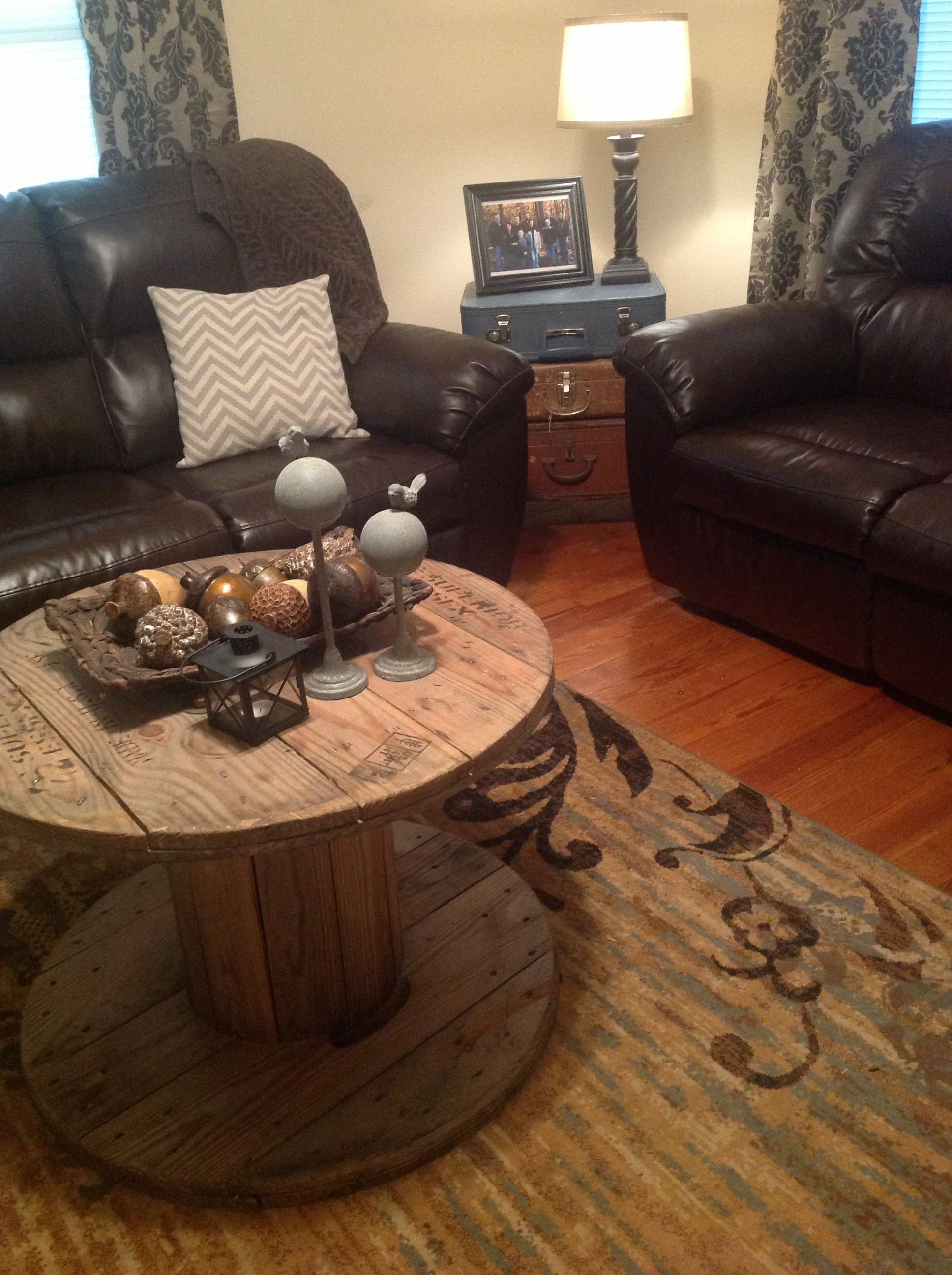 wooden spool coffee table & stacked vintage suitcases for end table ...