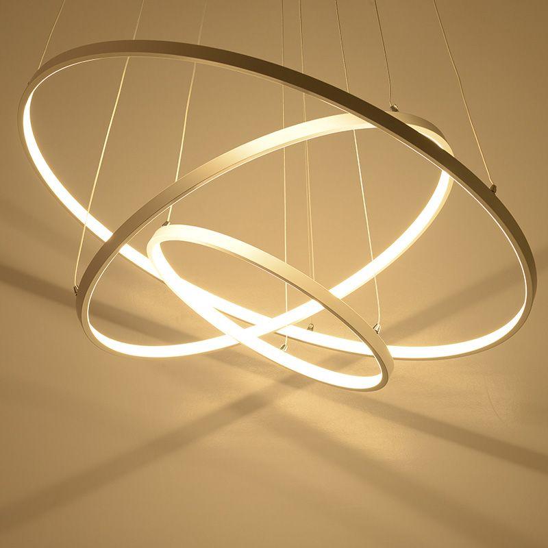 moderne pendelleuchten leuchte f r esszimmer kaffee lampe 3 2 1 kreis ringe acryl lampenschirme. Black Bedroom Furniture Sets. Home Design Ideas