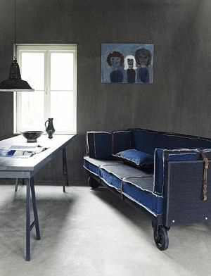 Upcycled Denim Couch On Casters Would Take Some Time But Certain I Could Do It