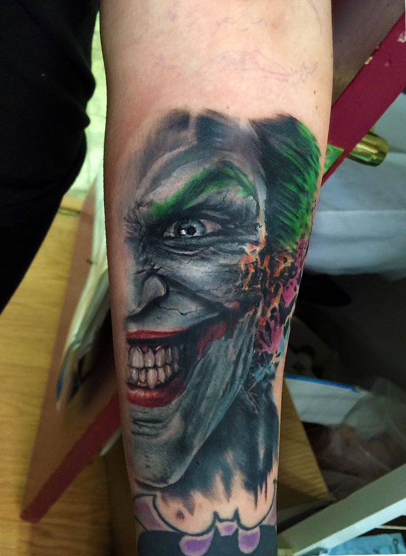Flaming art tattoo for geek tattoo lovers this kind of batman - Joker Tattoo Batman Tattoo Joker Portrait