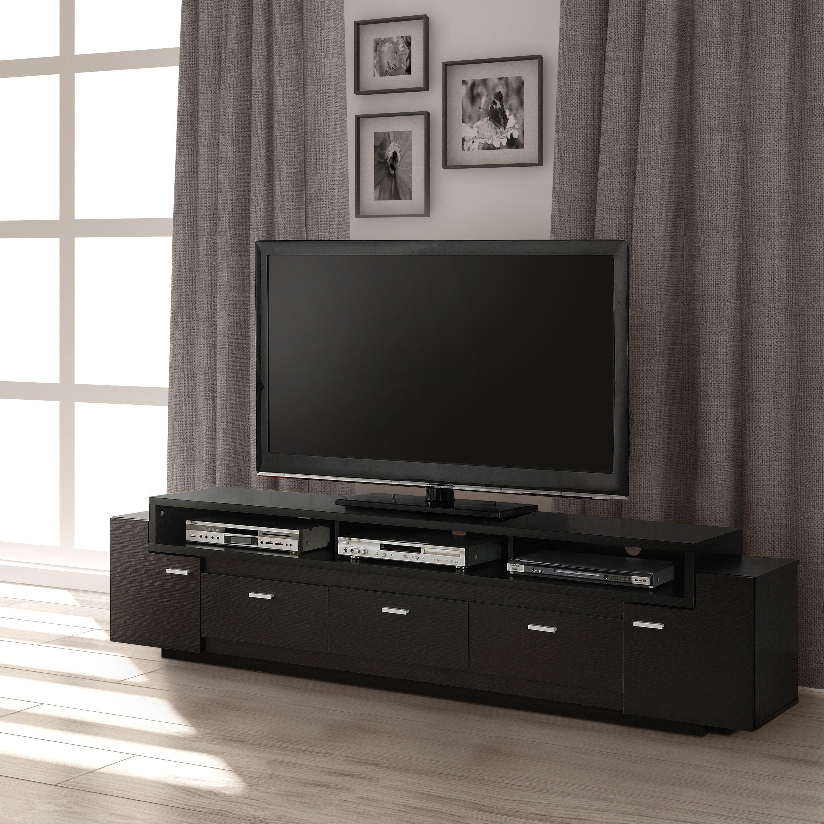 Furniture Of America 84 Inch Peyton Modern Tiered Tv Stand  # Meuble Tv Techno