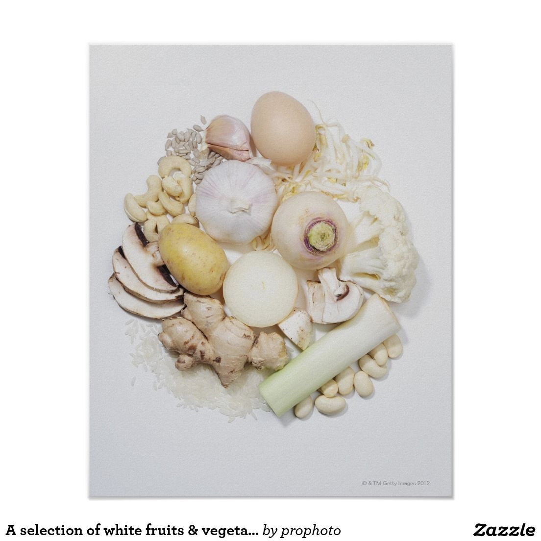 A selection of white fruits & vegetables. poster | Zazzle ...