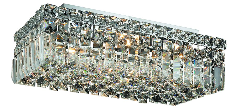 Elegant V2034F16C/RC - 2034 Maxime Collection Flush Mount L:16in W:8in H:5in Lt:4 Chrome Finish (Royal Cut Crystals)