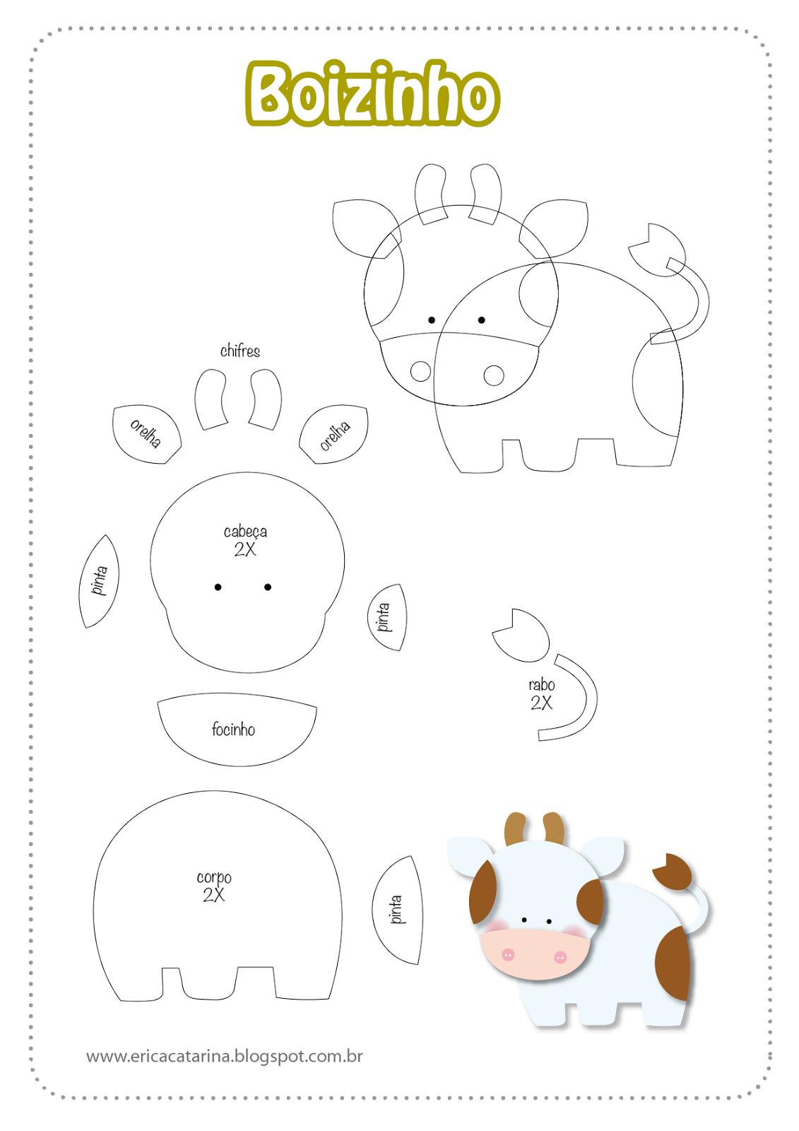 Super Moldes Fazendinha baby para decorações em feltro e EVA | Felting  KY56