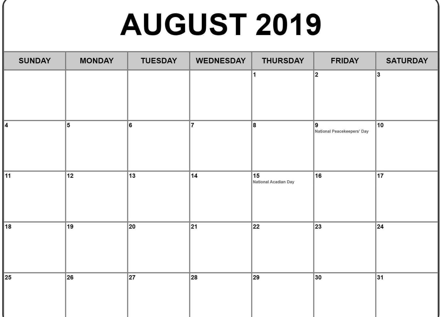 August Calendar With Holidays India