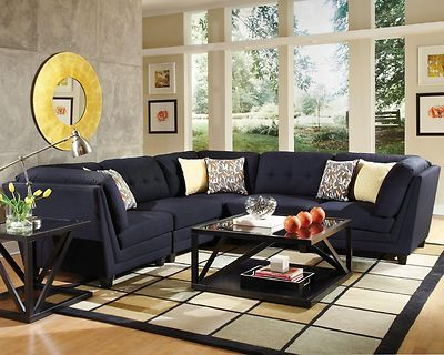 Sleek Stylish Midnight Blue Sectional Sofa Couch Living Room