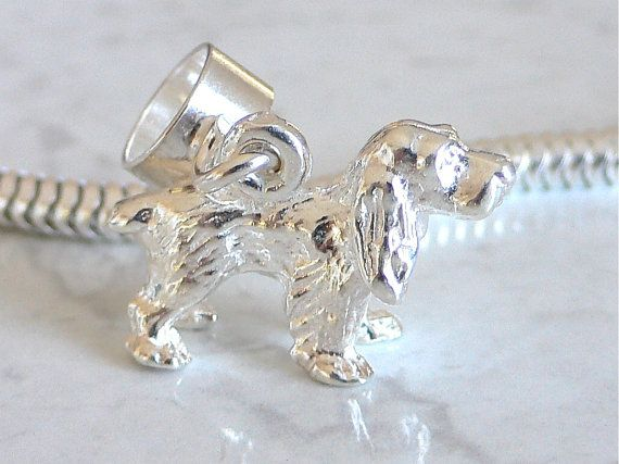 Cocker Spaniel Dog Sterling Silver 3d Charm Fits By Silvercharms