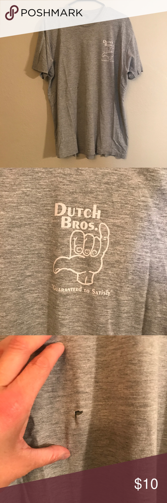 Grey Dutch Bros Guaranteed To Satisfy Tee Shirt is in great condition besides small flaw pictured in 3rd photo. Dutch Bros Tops Tees - Short Sleeve #dutchbros Grey Dutch Bros Guaranteed To Satisfy Tee Shirt is in great condition besides small flaw pictured in 3rd photo. Dutch Bros Tops Tees - Short Sleeve #dutchbros