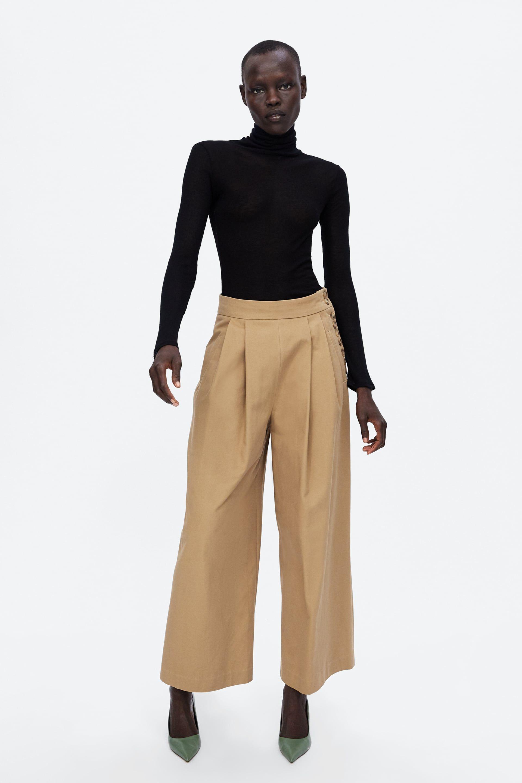 Zara Mujer Pantalon Pliegues Botones Pantalones Con Botones Pantalones Zara Mujer Pantalones