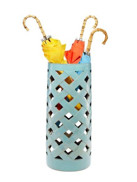 """Crisscross+23+1/2""""H+x+10""""-diameter+ceramic+umbrella+stand+in+turquoise,+$178,+interiorhomescapes.com"""