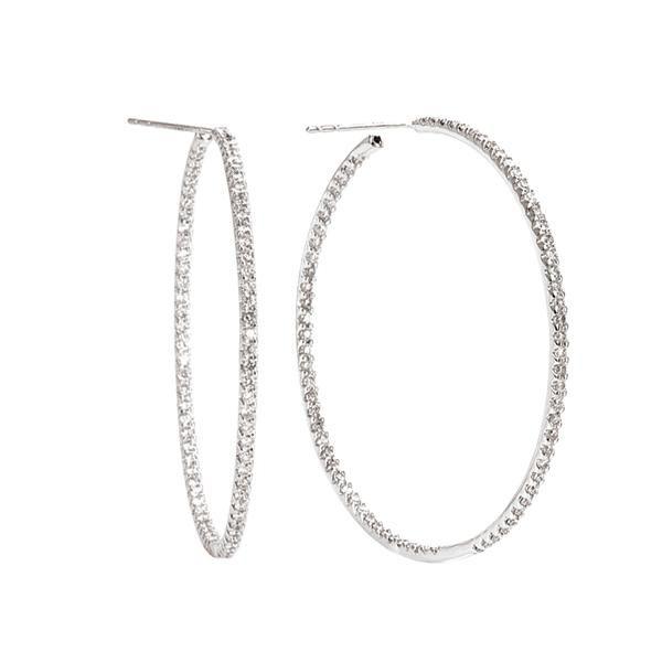 Tivolia designer diamond and 14k hoop earrings, angled posts