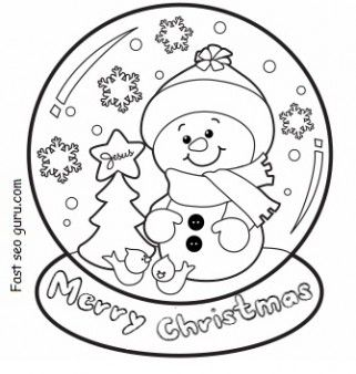 christmas snow globe whit snowman coloring pages printable coloring pages for kids - Snowman Coloring Pages