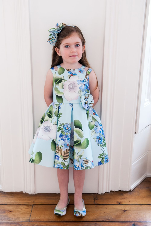 Blue Spring Flower Party Dress David Charles Childrens