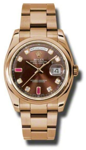 Rolex Day-Date President Rose Gold Chocolate Diamond Dial 36mm Watch
