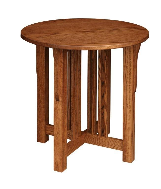 Amish Prairie Mission Round End Table - Mission style round end table