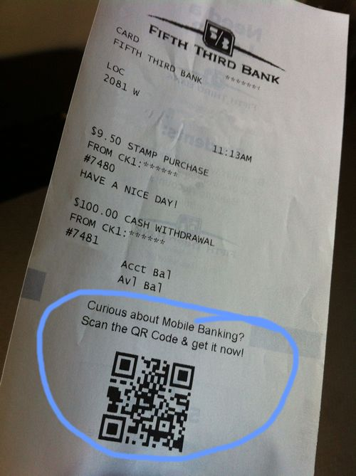 GREAT use of QR codes from 5/3 Bank. ATM receipt promotes