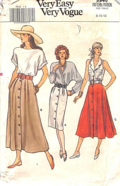 Vogue 9946 - from 1987 - uncut - misses petite skirt  d86676051