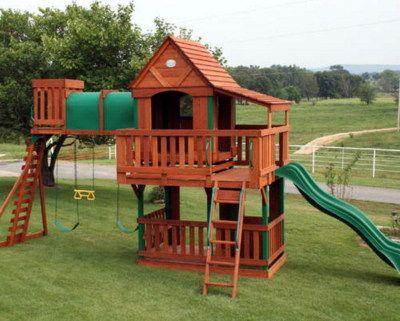 New Giant Wooden Swingset Kids Playground Swing Set Slide