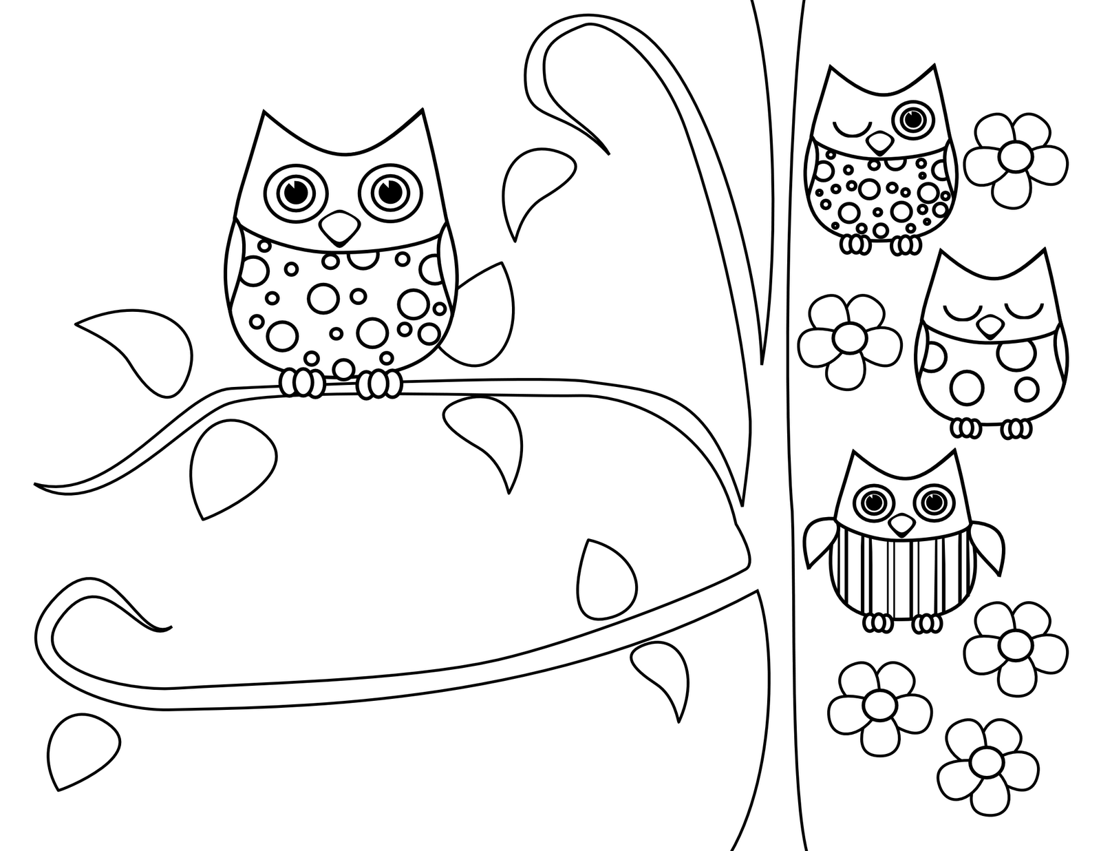 owl coloring pages free printables tricia rennea illustrator