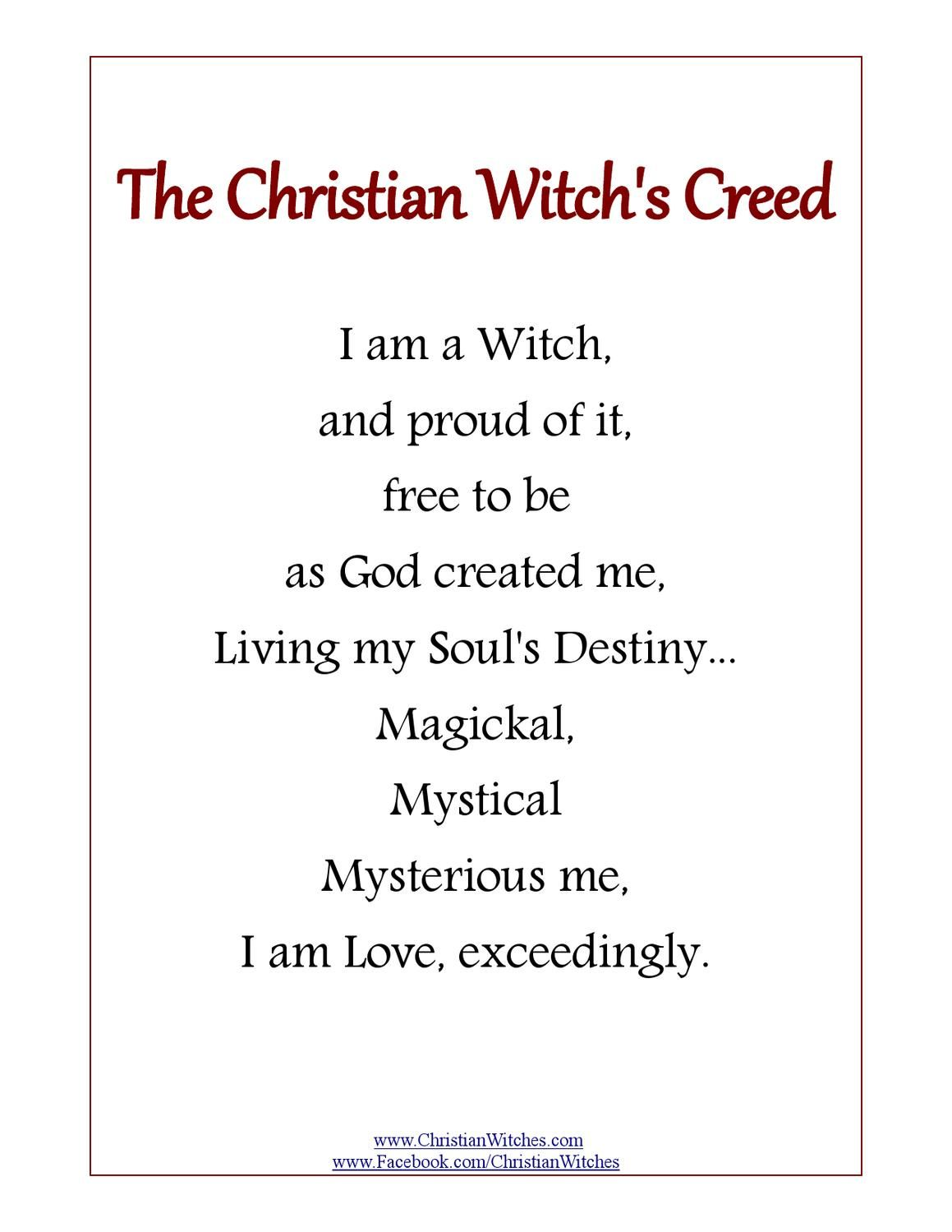 The Christian Witch's Creed | bos | Joseph dreams, Witch