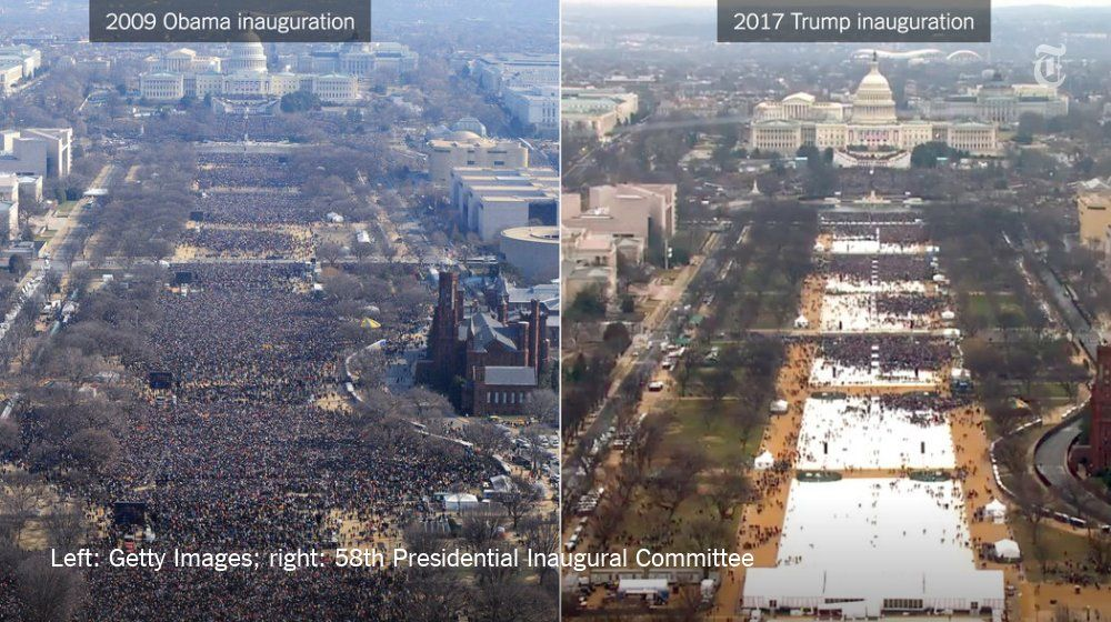 """The New York Times on Twitter: """"Comparing the crowds at Donald Trump's and Barack Obama's inaugurations https://t.co/Ip6UwbzinI https://t.co/jClpwd4uWa"""""""