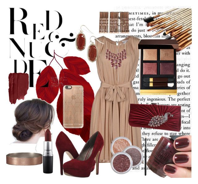 """Reds And Nudes"" by annaranae ❤ liked on Polyvore featuring Chloé, Michael Antonio, Charlotte Russe, Tom Ford, Kendra Scott, MAC Cosmetics, Abercrombie & Fitch, Casetify and Monki"